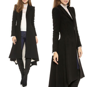 Vintage Victorian Women Lady Steampunk Swallow Tail Goth Long Trench Coat Jacket