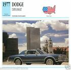 DODGE DIPLOMAT 1977 CAR VOITURE USA ETATS-UNIS CARTE CARD FICHE