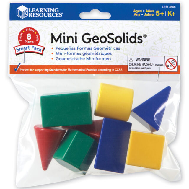 Mini GeoSolids 3D Plastic Shapes - Set of 8 Children's Geometric Maths Shapes
