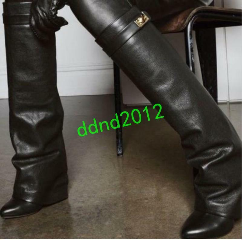 tutti i beni sono speciali donna Leather Fold-Over Knee-High stivali Wedge Heels Casual Casual Casual Leather stivali  promozioni