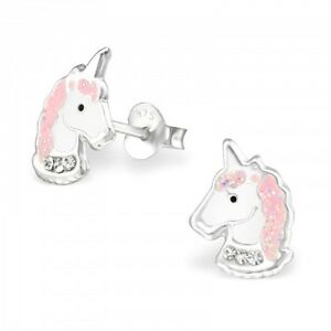 Girls Ladies Sterling Silver Pink Glitter Unicorn Stud Earrings - Gift Boxed