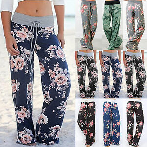 887dc0c5c62a Uk womens floral high waisted palazzo yoga trousers ladies jpg 300x300 Summer  trousers women