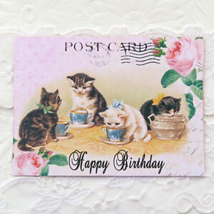 Image Is Loading NEW Cat Retro Happy Birthday Vintage Note Cards