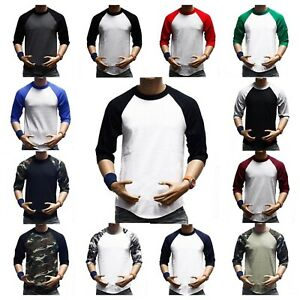 Men-T-Shirt-Baseball-3-4-Sleeve-Crew-Neck-Sports-Outdoor-Hipster-Jersey-Raglan