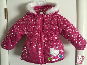 46f4bd718 HELLO KITTY Infant Toddler Girl s Hot Pink Hooded Puffer Jacket ...