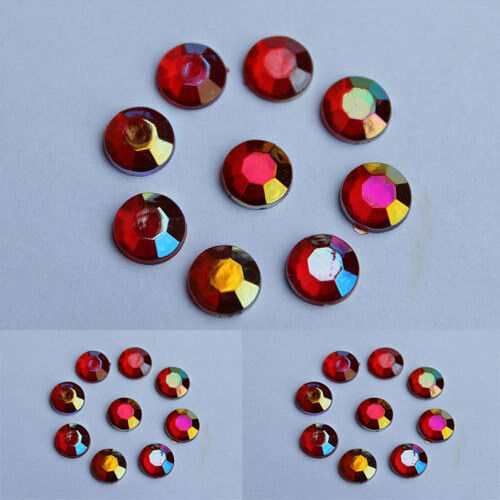 Red AB Flatback Diamante Rhinestones 1mm-8mm  Nail Art Gems-card making
