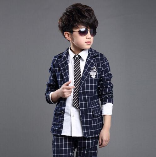 2PCS Kid Boys Check Blazer Suits Sets Coat Jacket Formal Party Page Boy Suits
