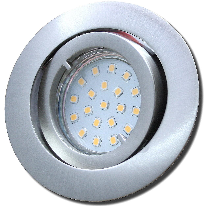 4er Sets Gu10 230V LED SMD Einbaustrahler / Alu / Schwenkbar / 3W=30W / Rostfrei