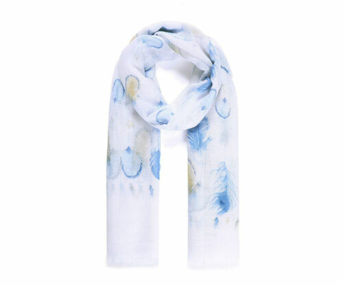 LADIES BEAUTIFUL WHITE BLUE BEIGE FEATHER PRINT  LARGE SCARF WITH SEQUINS NEW IN