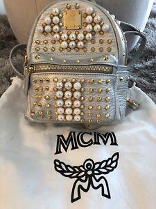 6f55622eb21 Image is loading MCM-Mini-Stark-Pearl-Stud-Leather-Backpack-Authentic