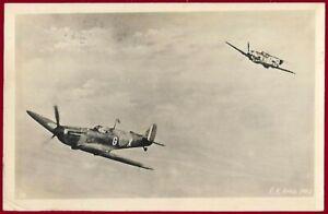 German Third Reich postcard LUFTWAFFE Messerschmitt Me 109 Chase a Spitfire 1944