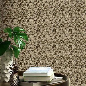 Portefeuille-Imprime-Leopard-Papier-Peint-Noir-Dore-Rasch-215618-Neuf