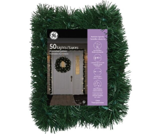 ge 18 garland with 50 random sparkle lights christmas decor - Garland Christmas Decor