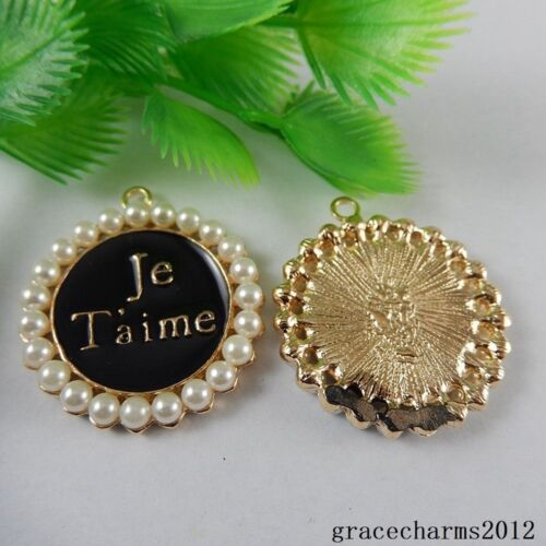 4x Black/&Gold Alloy Engraved Je T/'aime Pendants Accessories Findings Craft 50988