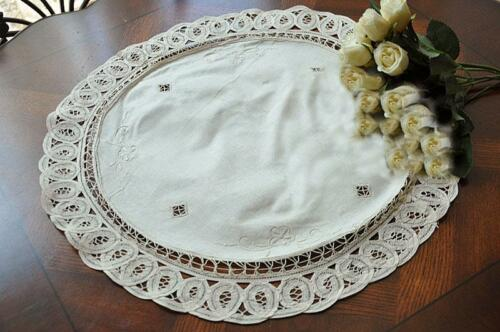 Elegant Hand Batten Lace Flower Embroidery Hemstitch Beige Cotton Topper Doily