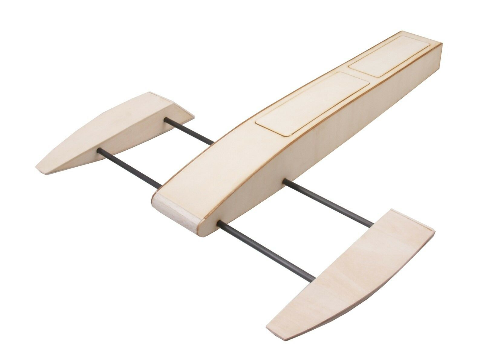 RC Plywood Outrigger Boat Wooden Sponson Race Boat 495mm w Shaft Metal Rudder