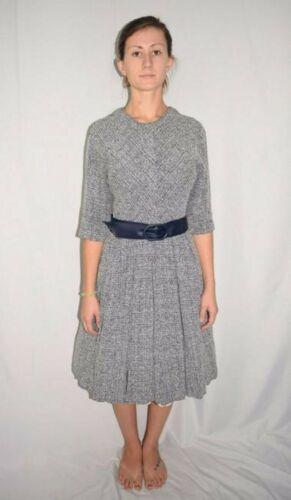 vintage 50/'s blue /& white tie dye sheer thin cotton eyelet tea dress S