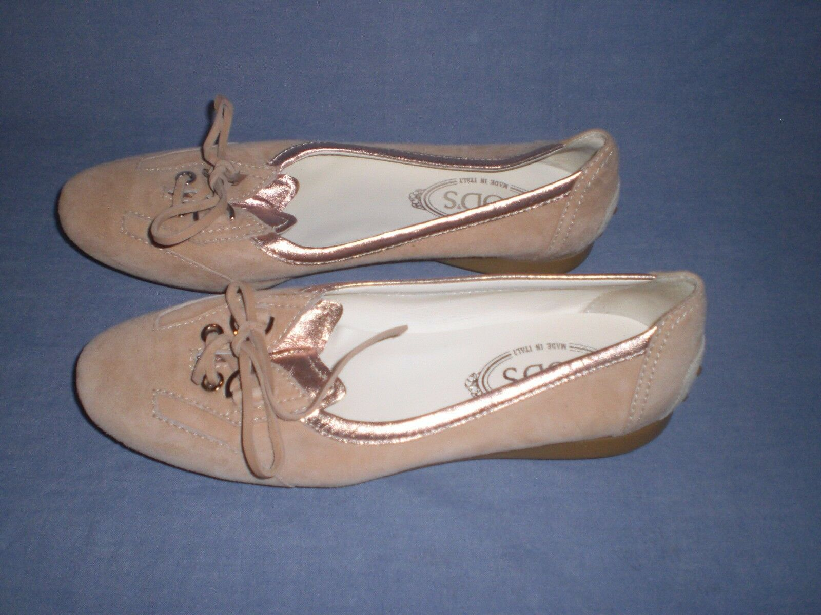 AUTHENTIC TOD'S IVORY SUEDE LOAFER MOCCASIN FLAT Scarpe SIZE 39 39 39 NEW 610839