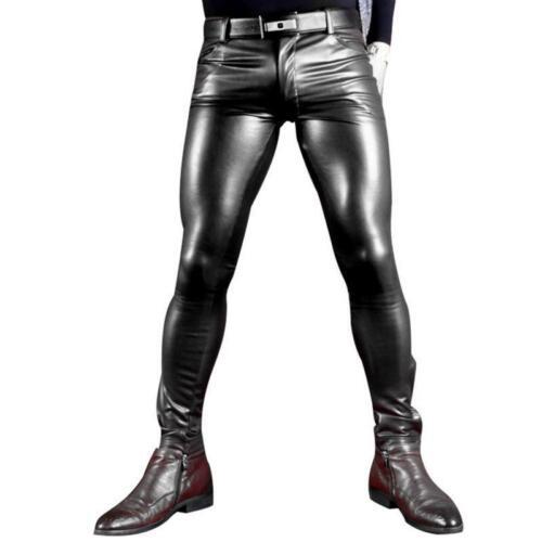 Uomini Man Wear Matte Gay Pantaloni alla sexy Shiny Leather moda Faux Soft X Role Skinny E6zAx1q