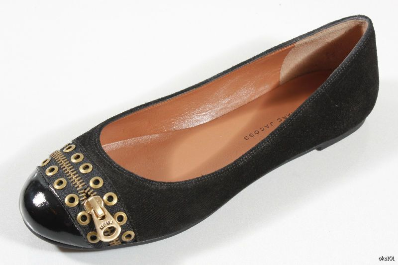 clienti prima reputazione prima New MARC JACOBS nero LOGO zipper grommets flats scarpe scarpe scarpe 36.5 6.5 - SUPER CUTE  vendita all'ingrosso