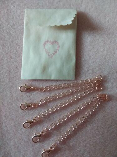 Lob FERMOIRS 12 mm Nouveau 5pcs Set de plaqué or rose Collier Extender Chaînes 7 cm