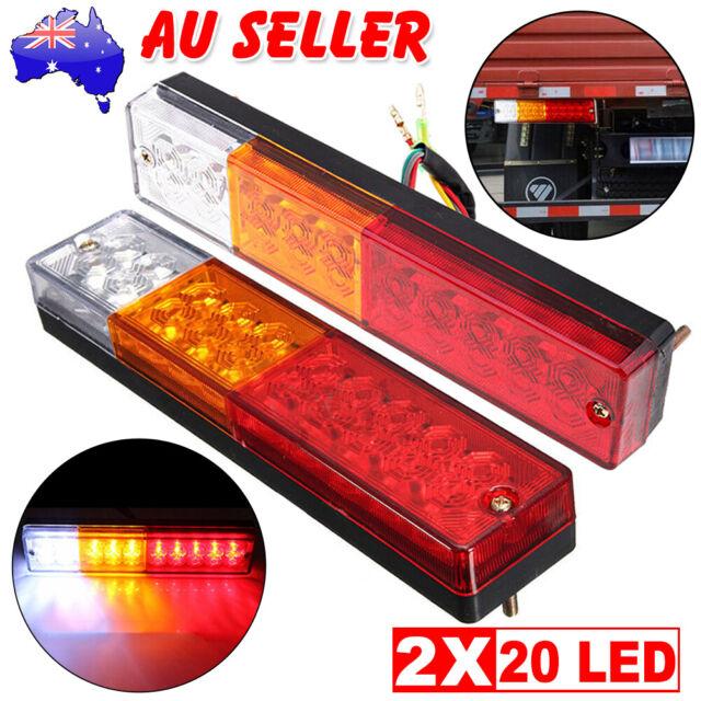 2X 20 LED Trailer Lights 12V Waterproof Caravan Truck Rear Tail Brake Indicator