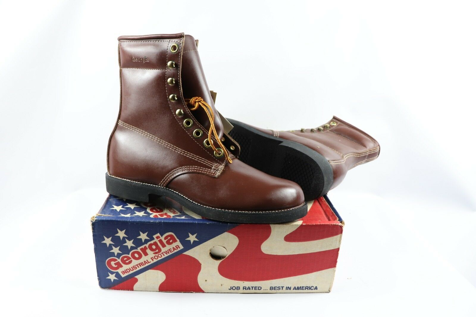 Vtg New Georgia Mens 11 M Tall Leather Lace Up Insulated Logger Boots Work Brown