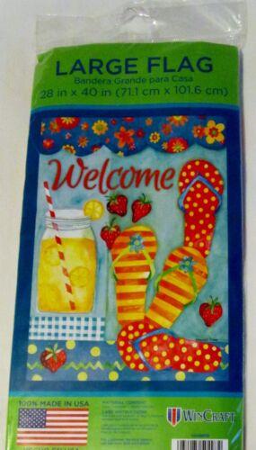 "banner 28/"" x 40/"" Summer Flip Flops $ Strawberries garden flag NWT Welcome Lg"