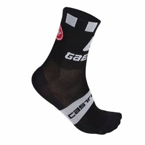 BLACK One Pair Castelli QUATTRO 9 cm Tall Cuff Cycling Socks