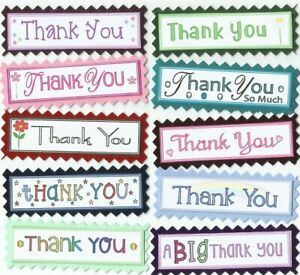 10 THANK YOU Sentiment Banners Card Making Scrapbook Craft Embellishments