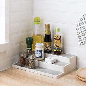 White-3-Tier-Shelf-Jar-Rack-Holder-Cupboard-Organiser-Storage-Kitchen-Tool