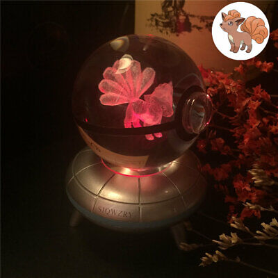 Crystal Pokemon Vulpix 3D LED Decor Night Light Table Lamp Best Gift Pokeball