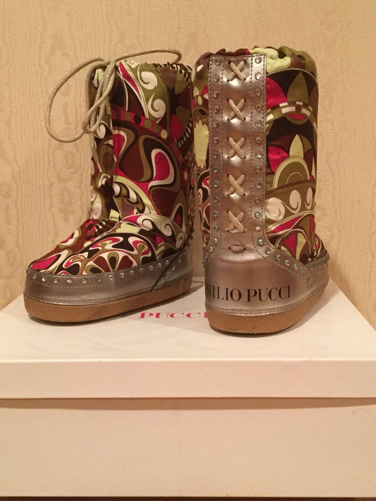 Emilio Pucci Printed Flat Snow Boots, Multicolor,Size 36 US 6