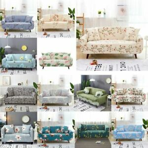 1-4 Seaters Floral Printed Non-Slip Sofa Couch Cover Loveseat Armchair Slipcover
