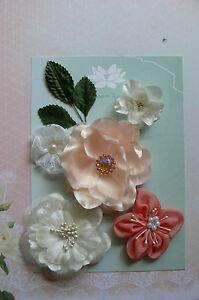 IVORY-PEACH-5-Flower-Mix-Designs-SATIN-LACE-3-Leaves-35-75mm-across-Green-Tara