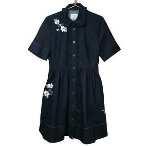 Kate-Spade-Broome-Street-Indigo-Denim-Skirt-Dress-Embroidered-Floral-Size-8-NWT