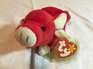 b7395f2b5d9 EXTREMELY RARE    VINTAGE 1995 SNORT TY BEANIE BABY RED BULL PLUSHIE ...