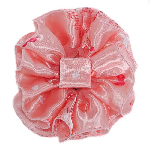 Heart Print Large Ruffled Satin Chiffon Jaw Clip Claw Hair Bows