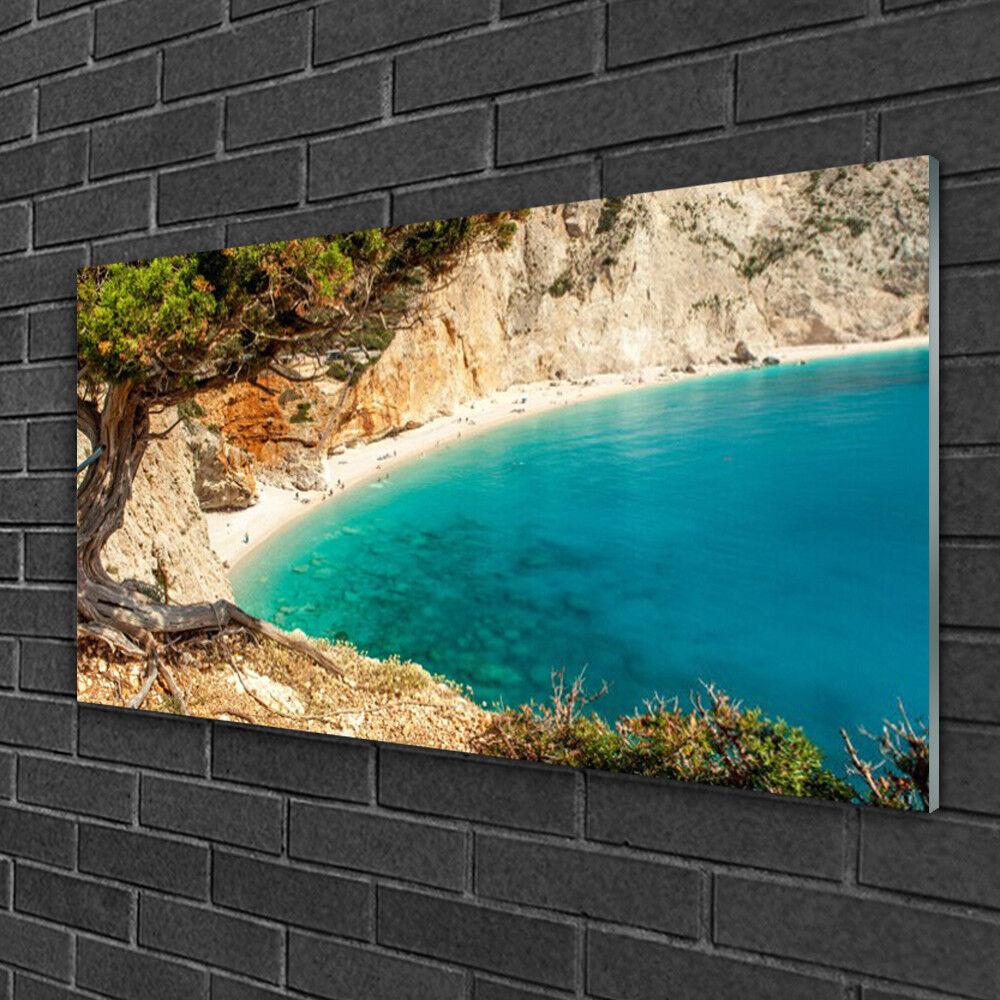 Image sur verre Tableau Impression 100x50 Paysage Baie Arbre
