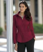 Womens Monroe & Main Wine Color Essential Stretch Shirt Plus Size 18w 18 W