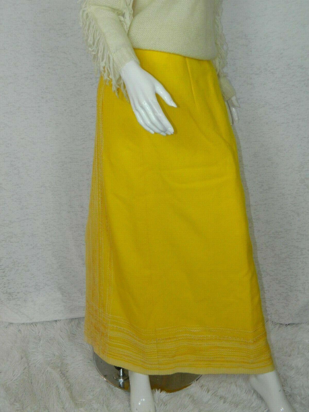 Vintage Arola Finland Skirt Yellow White Wool 70s… - image 6