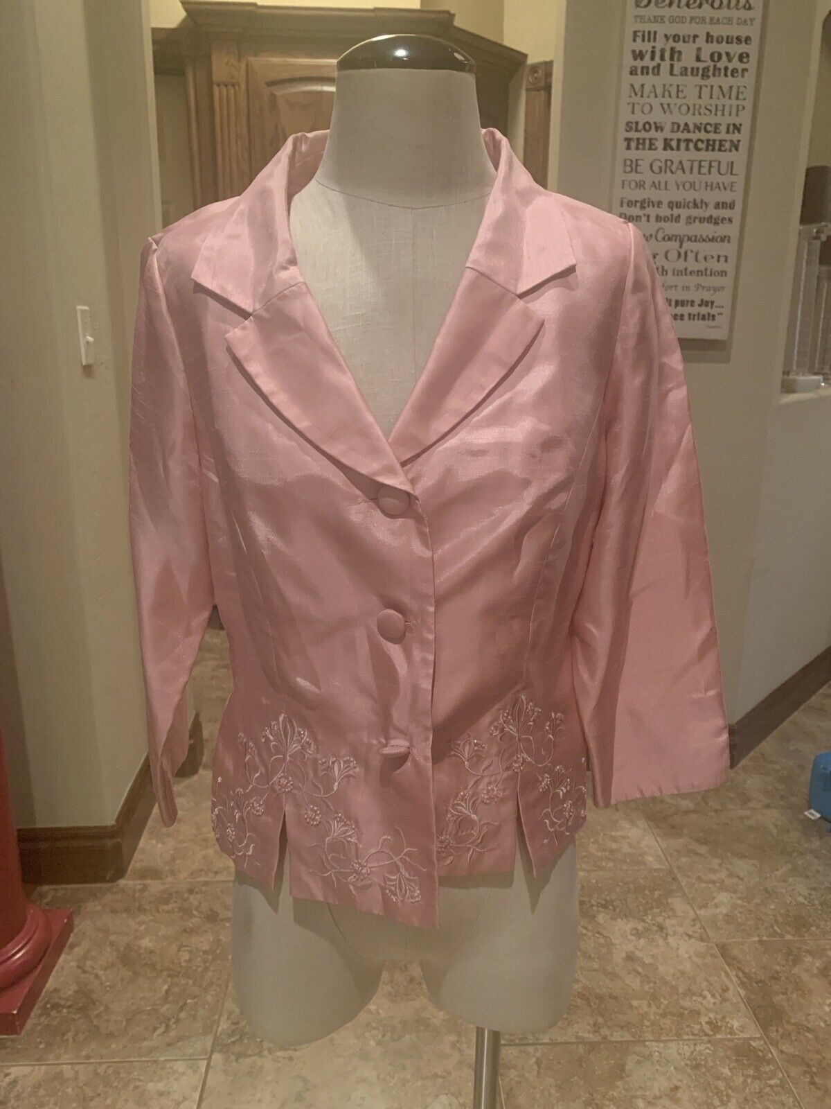 Jessica Howard Dress Blazer Beaded Embroidered Pink Gently Used 12 (92)