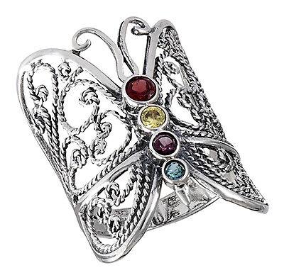 CZ Crystal Gemstone Stylish Studded Butterfly 925 Sterling Silver Belly Ring Body Jewelry