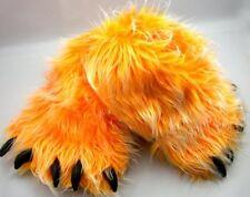 Monster Long Hair Orange Big Foot Bear Animal Plush Claw Paw Teen Slippers