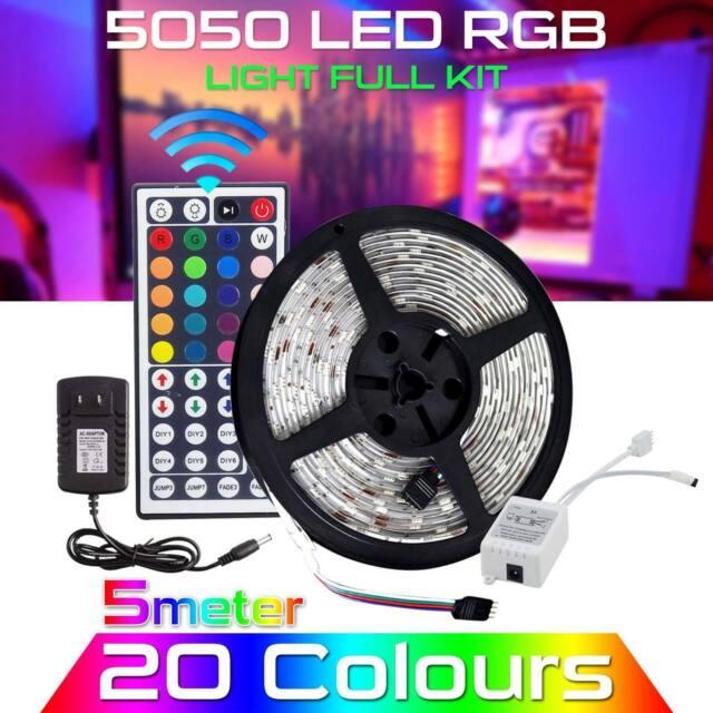 5M RGB 5050 Waterproof LED Strip light SMD 44Key Remote 12V Power Supply Adapter