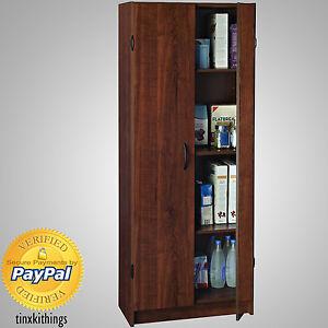 Wooden Tall Pantry Cabinet Storage Organizer Kitchen Bath