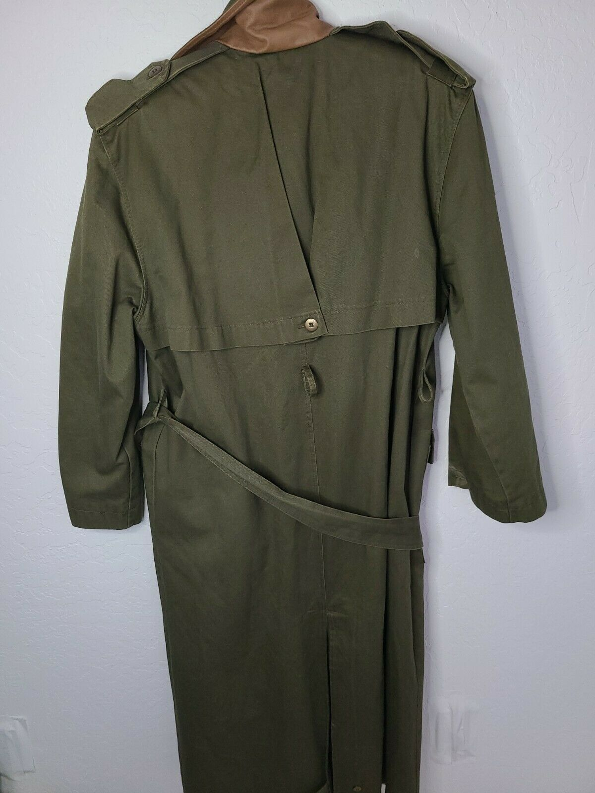 Classic Military Style Trench Coat, Olive Army Gr… - image 7