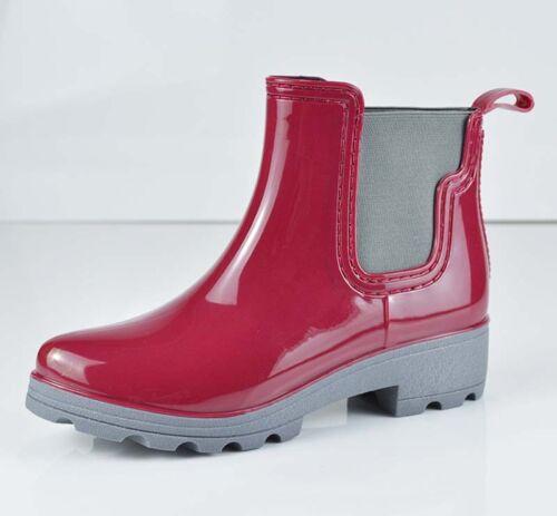 Women/'s Rubber Waterproof Short Elastic Rain Boots Garden Snow Ankle Boots NEW