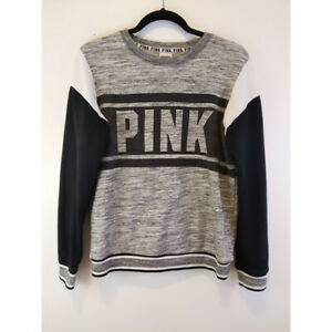 Details about PINK Victoria\u0027s Secret Pullover Sweater Activewear Gray Logo  Marled Long Slvs XS