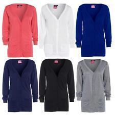 Womens New Button Up Boyfriend Cardigan Top Ladies Long Sleeve Pocket Cardi 8-24